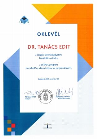 Oklevél - Dr. Tanács Edit